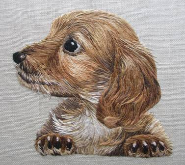 silk shaded dog made in Advanced Silk Shading Diploma course