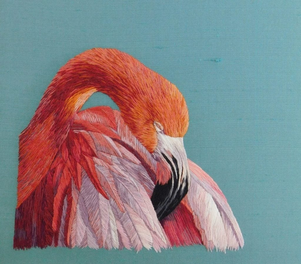 Embroided flamingo by Amy Burt future RSN tutor