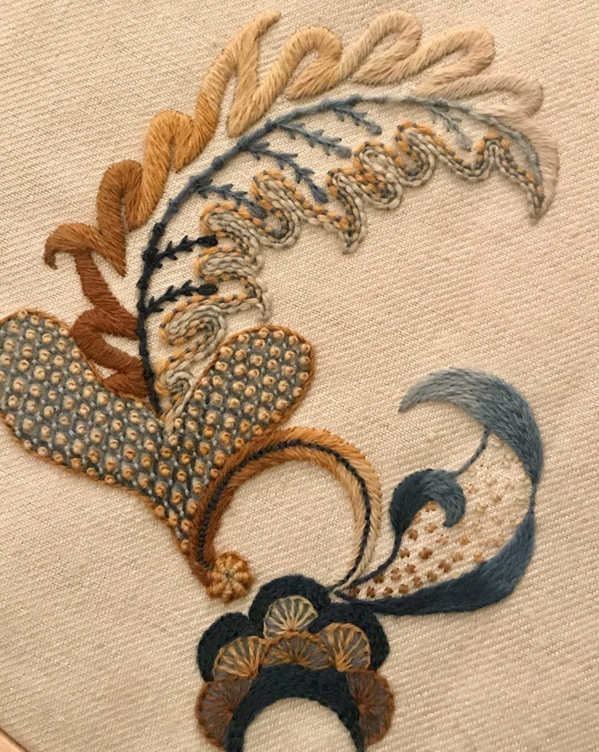 Stumpwork art from a student of the royal school of needlework