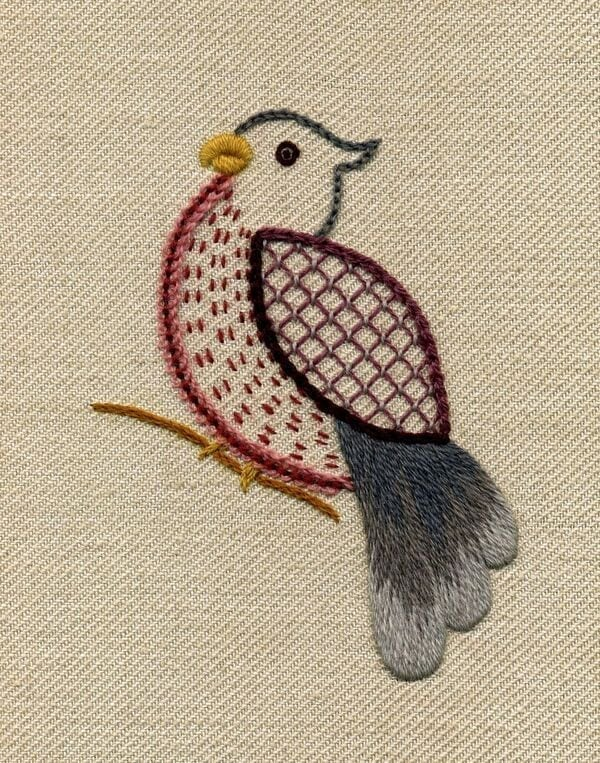 jacobean crewelwork bird on canvas by rsn student