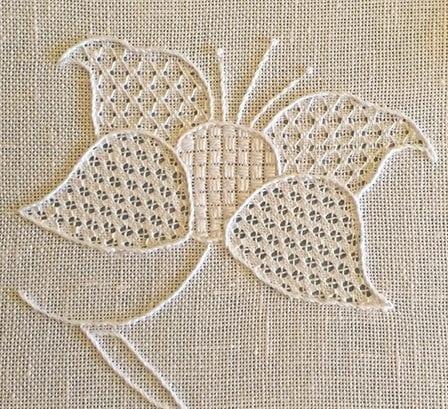 whitework flower produced at royal school of needlework
