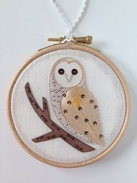 goldwork owl produced by a goldwork course student