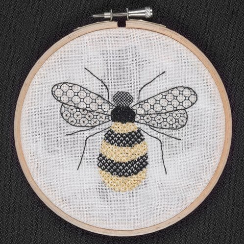 blackwork on canvas bumble bee made at the rsn