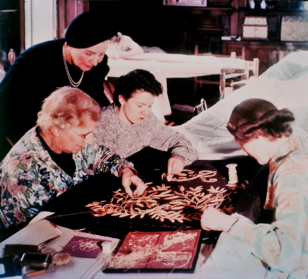 RSN embroidering the Robe of Estate for Her Majesty The Queen's Coronation in 1953